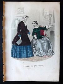 Journal des Demoiselles C1850 Antique Hand Col Fashion Print 105